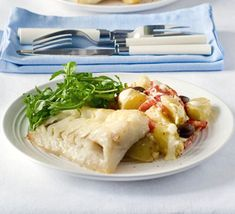 Grilled fish with new potato, red pepper & olive salad.    Shop organic ingredients for your recipes at www.farm2kitchen.com.