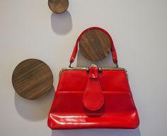 Vintage purse mod kelly red handbag vinyl faux by pumpkinpoptart