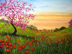 pintura de paisaje primavera