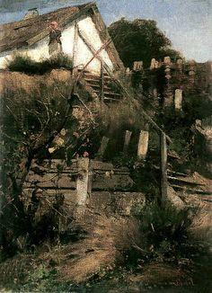 Deak-Ebner, Lajos (1850-1934) - 1880c. End of Village (Hungarian National Gallery, Budapest)  Oil on board; 37 x 78 cm.