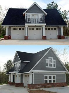 this similar three stall carriage house features white carriage style garage doors separated by white