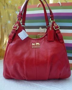 Coach Leather Cherry Red Leather Maggie Shoulder Bag Purse