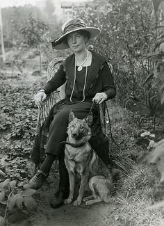Lady and her German Shepherd.