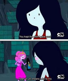 Also, when she not-so-subtly shows how much she cares. | 15 Reasons Princess Bubblegum And Marceline The Vampire Queen Are Better Together <<< She doesn't blush red......