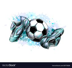 Football boots with ball from a splash of vector image on VectorStock Soccer Tattoos, Football Tattoo, Football Art, Football Boots, Cr7 Football, Custom Football, Retro Football, Soccer Art, Clay Art Projects