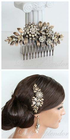 Bridal Hair Comb Vintage Leaf Leaves Wedding Comb Antique Brass Golden Shadow Crystal Pearl Side Comb Hair Accessories  IVY