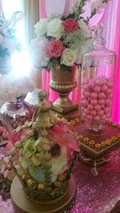 Candy jars at a royal Minnie Mouse birthday party! See more party planning ideas at CatchMyParty.com!