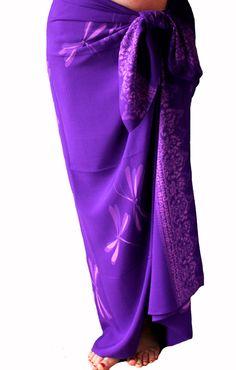 Purple Dragonfly Sarong - Batik Sarong - Womens Clothing Beach Sarong Wrap Skirt - Swimsuit Coverup - Sarong Pareo Wrap - Batik Pareo - Gift by PuaWear on Etsy