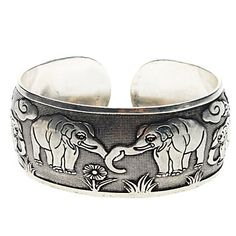 Arc-shaped Elephant Statue Tibetan Silver Bracelet - USD $ 2.39