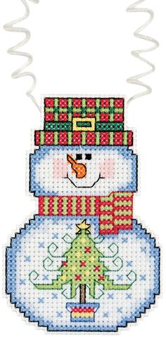 "Holiday Wizzers Snowman With Tree Counted Cross Stitch Kit-3""""X2.25"""" 14 Count"