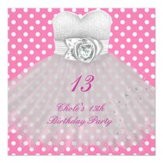 13th Birthday Party Girls 13 Teen Custom Invitation For Teens