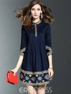 Ericdress Embroidery Back Pleated Cowl-Neck Casual Dress