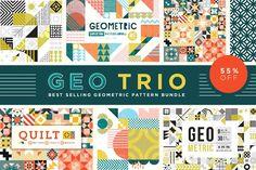 (Super Fun) Geometric Patterns | Pre-Designed Illustrator Graphics ~ Creative Market Graphic Patterns, Geometric Patterns, Geometric Shapes, Graphic Design, Tile Patterns, Textures Patterns, Print Design, Vector Pattern, Pattern Design