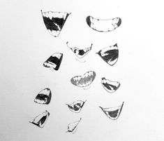 Open Mouth Drawing, Anime Mouth Drawing, Teeth Drawing, Body Drawing, Drawing Poses, Drawing Sketches, Art Drawings, Figure Drawing Reference, Art Reference Poses