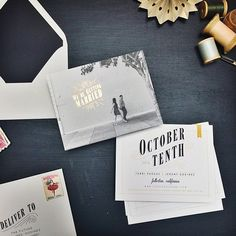 perfectly custom gold foil save the dates | smitten on paper