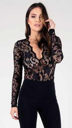Sexy See Thru Lace Long Sleeve Bodysuit