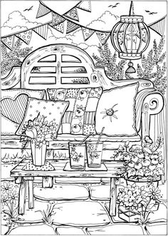 Creative Haven Summer Scenes Coloring Book Dover Publications Summer Coloring Pages, Coloring Pages To Print, Free Coloring Pages, Printable Coloring Pages, Coloring Sheets, Free Adult Coloring, Adult Coloring Book Pages, Creative Haven Coloring Books, Summer Scenes