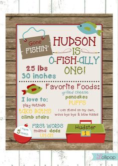 Personalized Digital First Birthday Fishing by LollipopInk on Etsy