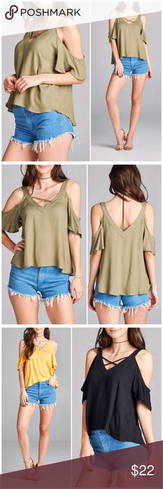 ❗️1-DAY SALE❗️Olive Cold Shoulder Strappy Top Spring Olive Cold Shoulder Strappy v neck top. Fits true to size small 4/6, medium 8/10 and large 12. 100% Rayon. Available in other colors in my closet Bchic Tops