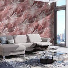 #feather #pink #waves #Divas Diva Design, Divas, Feather, Couch, Wallpaper, Pink, Furniture, Collection, Home Decor