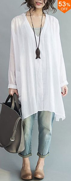 53%OFF&Free shipping. Loose Women Button Solid Cotton Linen Long Sleeve T-shirts.