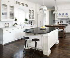 I actually LOVE our kitchen...except for the size.  How cool to have it twice as big with an eat-at island on one end!!  Kitchen:  Dream kitchen island!!!  Love the space for a few bar chairs to make visiting the cook a restful experience!