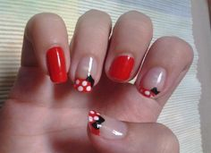 Minnie Mouse nails by cllaudiacosta from Nail Art Gallery