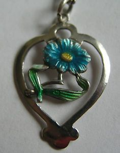 Antique UK Edwardian Silver Enamel Forget Me not Flower Heart Charm or Pendant   eBay