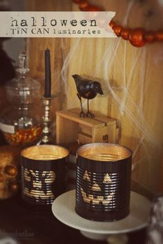 DIY Halloween Tin Can Luminaries By Honey Bear Lane www.skiptomylou.org  #halloween #halloweendecorations