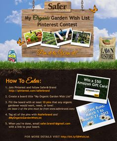 "***CLOSED*** Mary Withrow is the winner of the Safer® Brand ""My Organic Garden Wish List"" Pinterest contest! Congrats, Mary! Thanks to all who entered!"