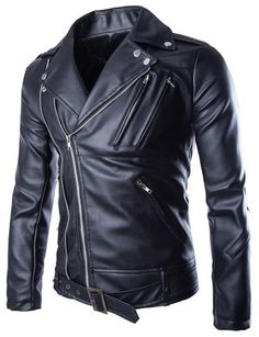 Solid Color Multi-Zipper Slimming Lapel Long Sleeve Fashion PU Leather  Jacket For Men( a6d80a3f157