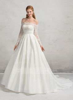 [US$ 277.99] Ball-Gown Off-the-Shoulder Court Train Taffeta Lace Wedding Dress With Ruffle (002083698)