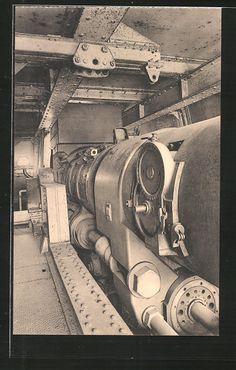 old postcard: AK Moere, Der Lange Max, innerer Mechanischmus vom Küstengeschütz Leugenboom