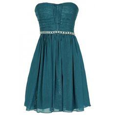 Lily Boutique Metallic Shimmer Embellished Strapless Dress in Teal (2,420 INR) ❤ liked on Polyvore featuring dresses, blue formal dresses, blue cocktail dresses, bridesmaid dresses, teal cocktail dress and teal formal dresses
