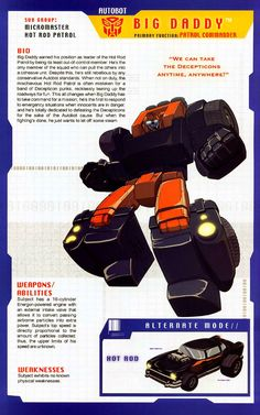 """transformers """"Big Daddy"""" a 57 chevy hot rod Transformers Decepticons, Transformers Characters, Transformers Movie, Gi Joe, Transformers Generation 1, Big Daddy, Hot Rods, Anime, Marvel"""