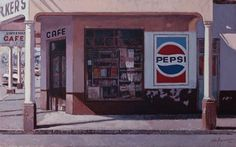 Corner Cafe, Cream Walls, South African Artists, Unique Paintings, Small Towns, Coke, Over The Years, University, Touch