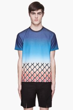 RAF SIMONS Blue and orange ombre chain link print Sweater T-Shirt