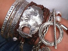 Handmade Sterling Silver Boho Leather Wrap Bracelet by HappyGoLicky: Intermingled strands of dark brown soft supple leather luxuriously wrap around your wrist 3 times and fasten with a unique artisan handmade sterling silver bar toggle. Silk Wrap Bracelets, Braided Bracelets, Gypsy Bracelet, Hippie Jewelry, Viking Bracelet, Charm Armband, Wraps, Silver Jewelry, Silver Rings