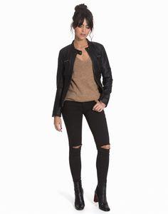 Shoppa Onlbandit Faux Leather Biker Otw No - Online Hos Nelly.com