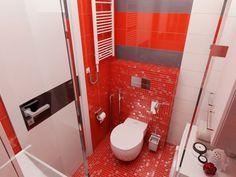 4 Super Tiny Apartments Under 30 Square Meters [Includes Floor Plans]: Interior Design Ideas Bathroom Red, Bathroom Colors, Bathroom Ideas, Compound House, Red Bathroom Accessories, Unique Floor Plans, Small Apartment Design, India House, Bungalow House Design