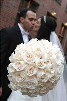 Ivory rose bouquet with swarovski crystals. http://weddings.viviano.com