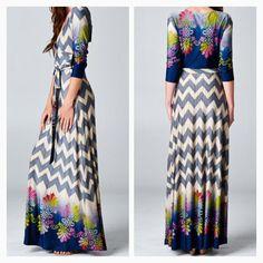 Groovy Chevron Faux Wrap Maxi dress  Order at Shannasthreads.com  Instagram Shannas_threads