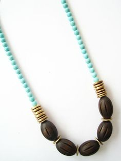 Wood Oval Necklace — could I reverse and put chunky turquoise in center and dark wood on outer length.