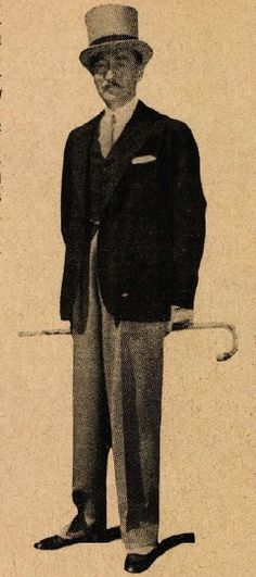 Férfi Divat- Adolphe Menjou divatos zakkóban, szürke nadrággal és szürke cilinderrel Színházi Élet 1929