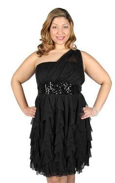 plus size draped one shoulder illusion cascade tendril dress