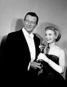 """1958 Oscars: John Wayne & Joanne Woodward, Best Actress 1957 for """"The Three Faces of Eve"""" Golden Age Of Hollywood, Hollywood Stars, Classic Hollywood, Old Hollywood, Hollywood Couples, Hollywood Actor, Hollywood Actresses, Best Actress, Best Actor"""