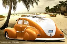 ugly-ass awkward unprofessional unfinished cartoonish heathen car design: 1948 Chevrolet Fleetline (via hussain1 @deviantART)
