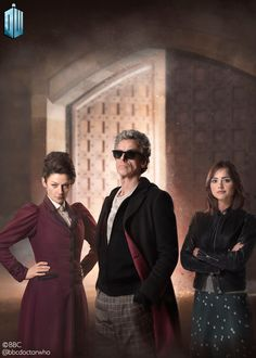 Peter Capaldi, Michelle Gomez, and Jenna Coleman in Doctor Who Geronimo, Doctor Who Season 9, Doctor Who Convention, Doctor Who 2005, Watch Doctor, Twelfth Doctor, Clara Oswald, Christopher Eccleston, Bbc America