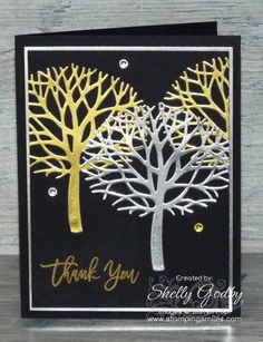 Did you see the Stampin' Up! Thoughtful Branches cards I made with Dazzling Diamonds Glimmer Paper? Both were so pretty. (Links are listed below the supplies.) That got me wondering how the d…
