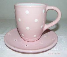 Punkte Polka dots handmade Becher Teller Set  rosa von Sofie's Home auf DaWanda.com